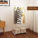 LXLA- Iron Coat Rack Floorstanding Hanger Simple Shelf Bedroom Vertical Organizations Hanger Continental Multifunction Economic Type 59×40×128cm (Color : White)