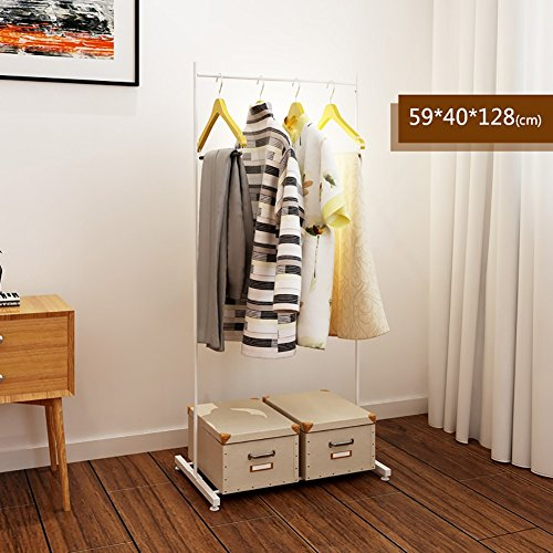 LXLA- Iron Coat Rack Floorstanding Hanger Simple Shelf Bedroom Vertical Organizations Hanger Continental Multifunction Economic Type 59×40×128cm (Color : White) by LXLA-Coat rack