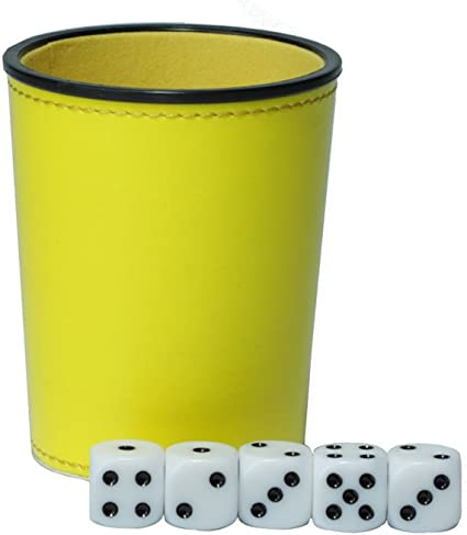 YH Poker Felt Lined Professional Dice Cup with 5 Dice