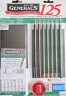 GENERAL'S Sketch & Go GRAPHITE Travel ART KIT Set w 7 ART PENCILS, SKETCHING JOURNAL, Pencil CASE & More (2014 Made in USA)