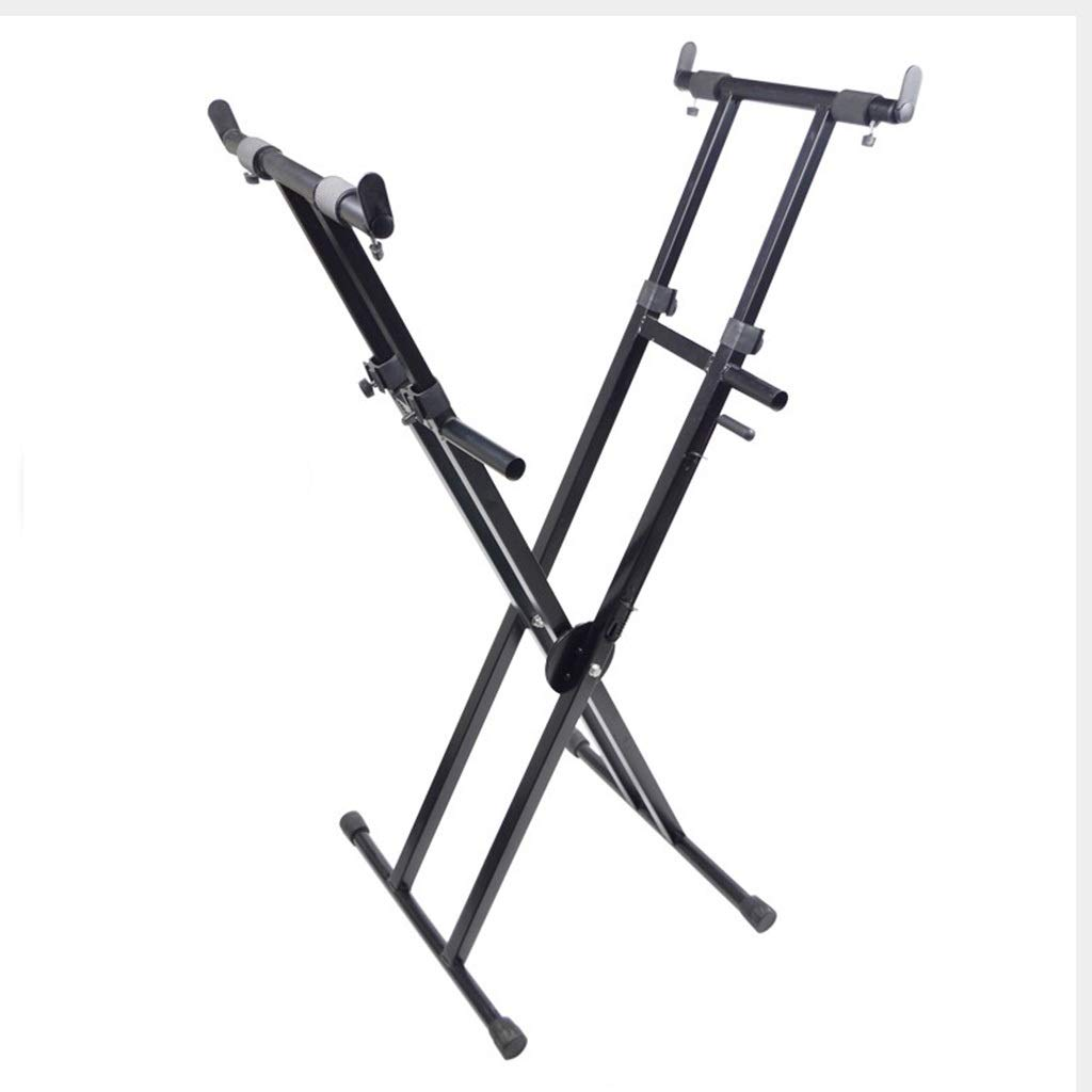 Synthesizers & Workstations Keyboard Stand Piano Stand Keyboard Stand and Bench Set Iron Zither Frame X-Type Stand-up Shelf Outdoor Entertainment (Color : Black, Size : High 100cm) by Synthesizers & Workstations