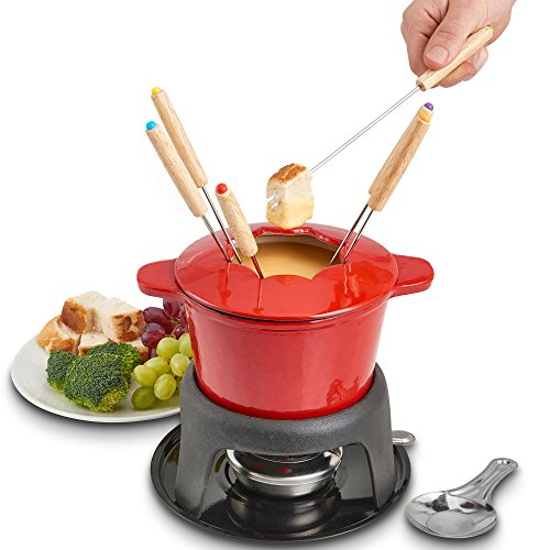 VonShef Fondue Set with 6 Fondue Forks, Stylish Cast Iron Porcelain Enamel Fondue Pot Makes All Styles of Fondue Such as Cheese and Chocolate, 1.6 QT Capacity, Red, 12pc Set by VonShef (Image #5)