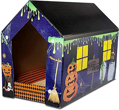 American Cat Club Halloween Cabin Cardboard House for Cats with Catnip and Scratcher Pad