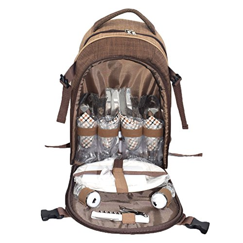 ABNII 4 Person Classic Picnic Backpack Bag Basket Cooler Compartment Brown Fleece Blanket Flatware Plates