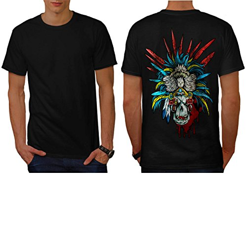 [Skull Indian Warrior Costume Men NEW S T-shirt Back | Wellcoda] (Pregnant Basketball Costume)