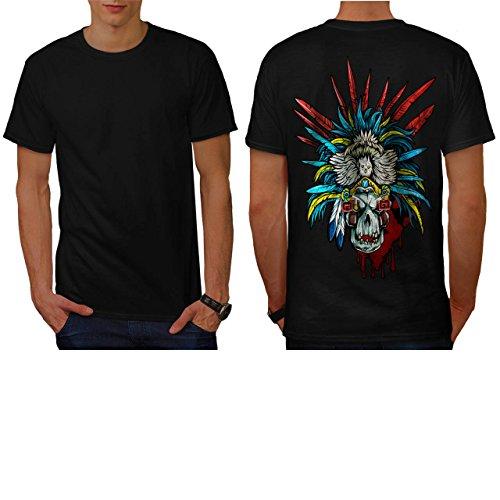 [Skull Indian Warrior Costume Men NEW L T-shirt Back | Wellcoda] (Mayan Warrior Costumes)