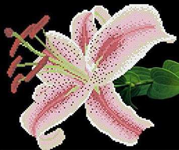 Lilien Stickpackung mit Perlen Bild sticken Stickset Stickvorlage Stickbild 23