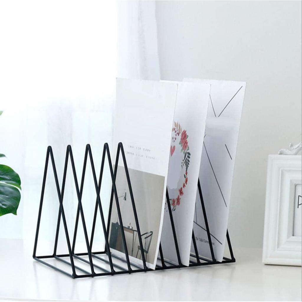 Schwarz File Organizer Triangle Eisen Desktop Storage Buch Rack-B/ücherregal aus Metall Magazin Zeitungshalter f/ür Office Home