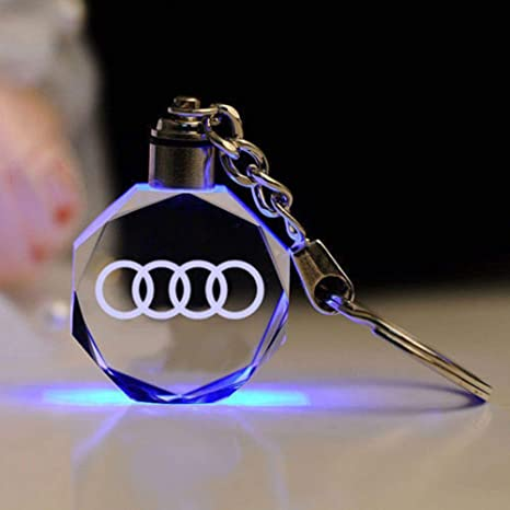 Fitracker LED Car Logo Audi Keychain Crystal Light Changing Car Key Chain Keyring Accessories with Gift Box