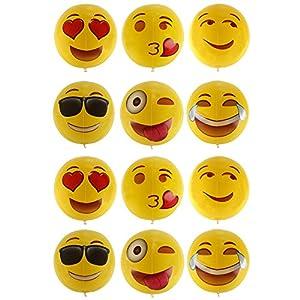niceEshop(TM) 12  Emoji Aufblasbar Wasserbälle Masse für Kinder, 12 Pack