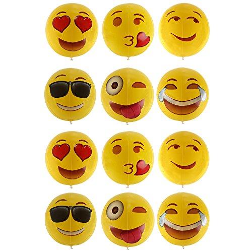 niceEshop(TM) 12 '' Emoji Aufblasbar Wasserbälle Masse für Kinder, 12 Pack