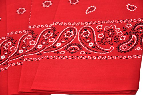T&Z 100% Cotton 12 Pack Fine Bandanas Professional Factory Manufactured (Red) by T&Z (Image #4)