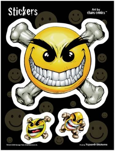 Long Lasting for Any Surface Weather Resistant Chaos Smiley Have a Nice Day Sticker Decal Chaos Comics 6x8 Die-Cut