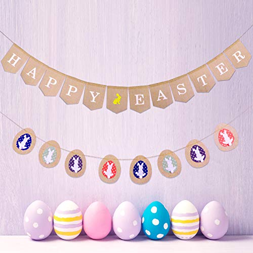 Leinuosen Easter Burlap Banners, Include Burlap Bunting Banner with Bunny Egg Pattern and Happy Easter Flag Garland, 2 Pieces Totally