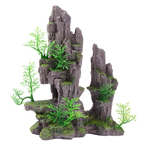 Saim Aquarium Mountain View Stone Ornament Tree Rock Cave Fish Tank Decoration