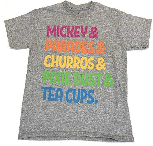 Disney Mickey & Parades & Churros & Dixie Dust & Tea Cups Favorite Things Shirt Youth L Gray ()