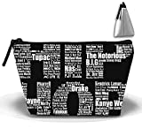 Hip Hop In Black Cosmetic Bags Travel Toiletry Pouch Portable Trapezoidal Storage Pencil Holders