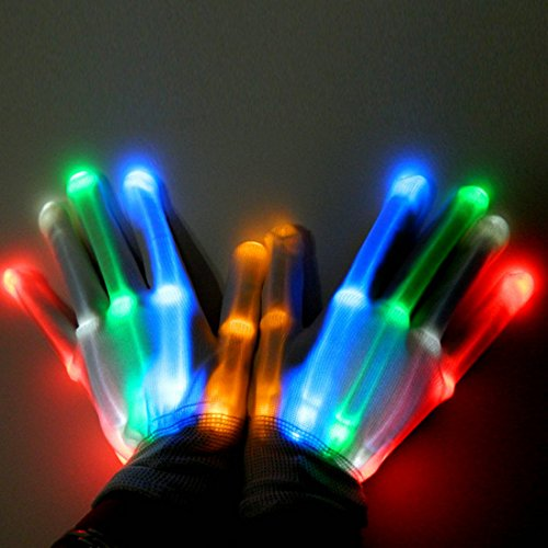 LED Glowing Skeleton Gloves Boys' Girls' Novelty Light up Mittens Halloween Christmas Gift Costume For Party Club Dance By Hi Suyi