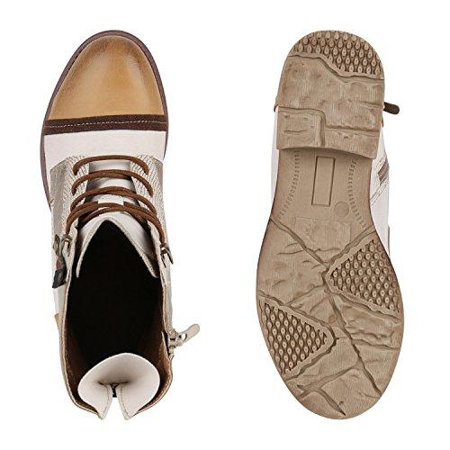 Stiefelparadies Damen Schnürstiefeletten Leder-Optik Stiefeletten Blockabsatz Boots Glitzer Schuhe Schnürschuhe Übergrößen Flandell Gold Hellbraun Metallic