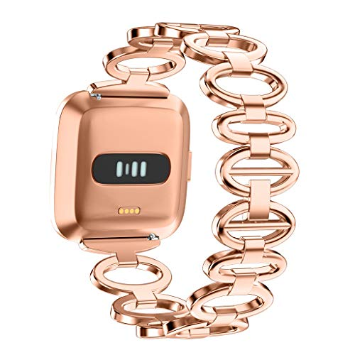 Meidexian888 Girls Watch Band Wirst, Stainless Steel Band Replacement Stainless Steel For Fitbit Versa Lite (Rose Gold)