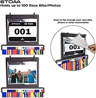 Triathlon and Other Sports Marathon Wall Mounted Rack in a Premium Gift Box; Ideal for Runners 40 Medal Hanger and 100 Race Bib Holder ETOAA Medal Display for Runners Including 23 Bib Sleeves