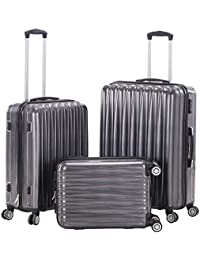 Spinner Luggage Sets PC+ABS Hard Shell Luggage TSA lock Lightweight Suitcase 20 inch 24 inch 28 inch (GREY)