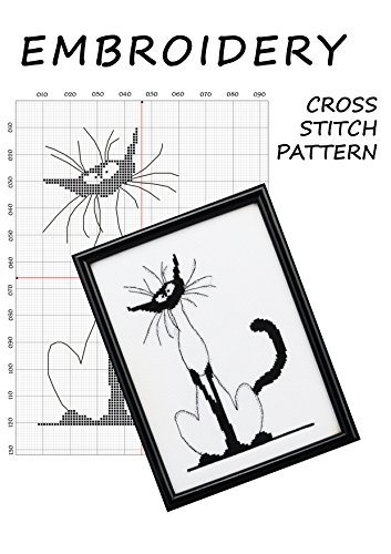 Amazon Com Monochrome Canvas Cat Cross Stitch Pattern Funny