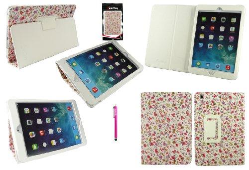 Emartbuy® Samsung Galaxy Tab Pro 10.1 Inch Tablet ( T520 T525 ) Blanco Lápiz Óptico + Lunares Rojo / Blanco Funda Carcasa Wallet Case Cover con Soporte de Sobremesa Floral Rosa Monedero