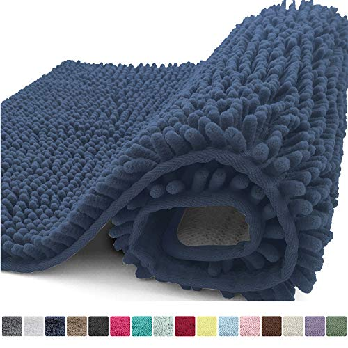 Kangaroo Plush Luxury Chenille Bath Rug, 30x20, Extra Soft and Absorbent Shaggy Bathroom Mat Rugs, Washable, Strong Underside, Plush Carpet Mats for Kids Tub, Shower and Bath Room, Navy Blue