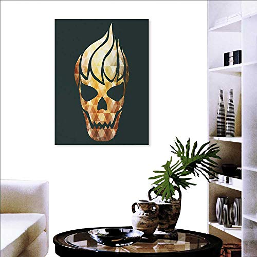 Warm Family Modern Ready to Hang Home Decorations Wall Decor Gothic Skull Fractal Effects in Fire Evil Halloween Concept Art Stickers 20