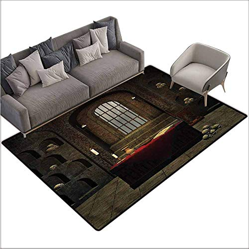 - Anti-Slip Coffee Table Floor Mats Gothic,Mystical Room Skulls 64