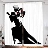 Girls Curtains Custom design Man and Woman Partners Romantic Dance Tango Waltz Love Valentines Rhythm Music Art curtain Living Room Bedroom Window Drapes 2 Panel Set 108''x84'' Black White