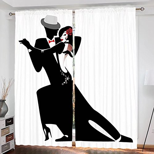Girls Curtains Custom design Man and Woman Partners Romantic Dance Tango Waltz Love Valentines Rhythm Music Art curtain Living Room Bedroom Window Drapes 2 Panel Set 108''x84'' Black White by househome
