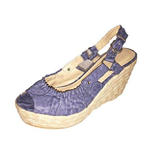 SendIt4me Blaue Peep Toe Sling Zurück Wedge Heel Sandalen/Schuhe Blue