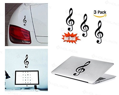 [PACK of 3 Sol Key G-Clef Sticker Decal for Macbook, Laptop ,Car Window, Laptop, Motorcycle, Walls, Mirror and More.] (Costumes Braces)