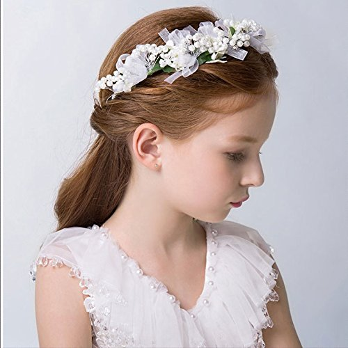 KMALL Bianco coroncina fiori capelli regolabile fiore per sposa damigella  strass perlina d onore bambina donna per matrimonio fotografia corona  ghirlanda ... cd60a1a459a4