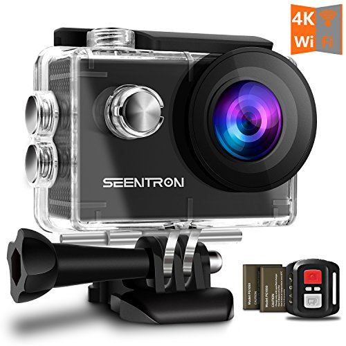 Waterproof Underwater 4K WiFi Action Camera - Ultra HD Sports Cam with 16MP SONY CMOS Sensor/170 Degree Wide Angle SharkEye Lens/2.4G Remote Control/2 Rechargeable Batteries and Portable Package (Cam Package)