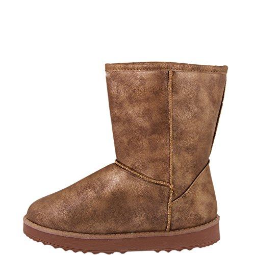 Winter Schlupf Boot Stiefel Stiefelette Damen Schuhe Braun Metallic Look V1194