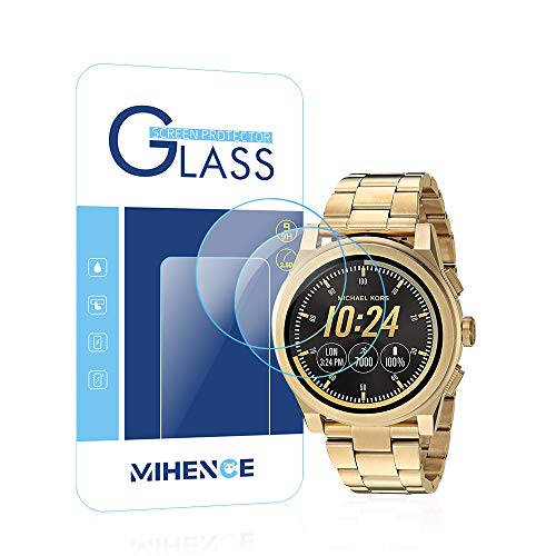MIHENCE Compatible Micheal Kors Access Grayson Screen Protector, 2.5D Rounded Edges 9H Premium Real Tempered Glass Screen Protector for Michael Kors Access Smartwatch Grayson Gen 2 (2PCS)