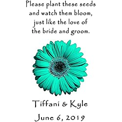 Personalized Wedding Favor Wildflower Seed Packets Teal Daisy Design 6 verses to choose from Set of 100