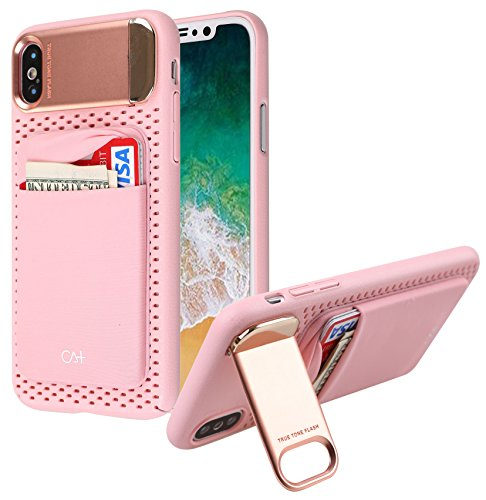 iPhone X wallet case, iPhone X Case with Card holder [Metal Kickstand][ Honeycomb Heat Dissipation for iPhone X - Metal Pink
