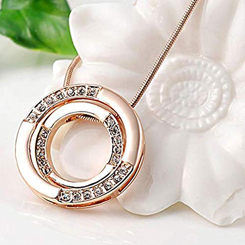 SANNYSIS Women Charm Pendant Rose Gold Plated Necklace Bicyclic Chain Necklace by Sannysis (Image #4)