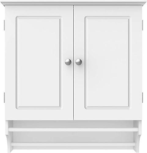 go2buy White Wall Mounted Cabinet Kitchen/Bathroom Wooden Medicine Hanging Storage Organizer