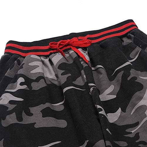 Alangbudu Men Sweatpants Slacks Casual Elastic Joggings Sport Solid Baggy Pockets Drawstring Trousers