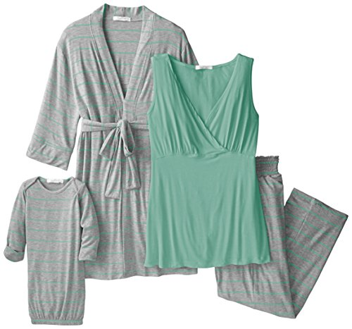 Everly Grey Women's Maternity Roxanne Nursing Pajama Pant Set with Baby Gown, Sea Foam, X-Large