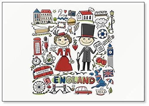 Viaja a Inglaterra. Imán para nevera con diseño de símbolos y ...