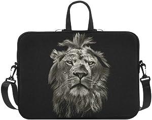 InterestPrint Animal Lion Laptop Sleeve Case Bag, Lion Shoulder Strap Laptop Sleeve Notebook Computer Bag 15-15.6 Inch for MacBook Pro Air Dell HP Lenovo Thinkpad Acer Ultrabook