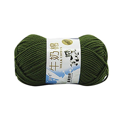 Crewel Wool Thread - Molyveva Bonbons Yarn Skeins Assorted Colors for Crochet & Knitting Multi Pack Variety Colored Assortment - 100% Cotton Yarn Skeins - 1 Piece (Army Green)