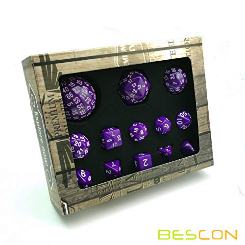 Bescon Complete Polyhedral RPG Dice Set 13pcs D3-D100, 100 Sides Dice Set Solid Purple ()