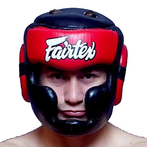 Bangplee_Sport Fairtex HG13 Head Guard - Full Head Cover Version for Boxing Muay Thai MMA (Black/Red, M)